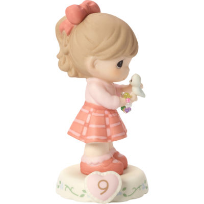 """Precious Moments  """"Growing In Grace  Age 9""""  Bisque Porcelain Figurine  Brunette Girl  #154036B"""