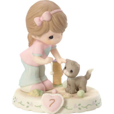 "Precious Moments  ""Growing In Grace  Age 7""  Bisque Porcelain Figurine  Brunette Girl  #154034B"