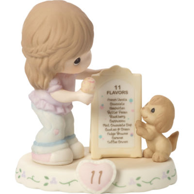 """Precious Moments  """"Growing In Grace  Age 11""""Bisque Porcelain Figurine  Brunette Girl  #154038B"""