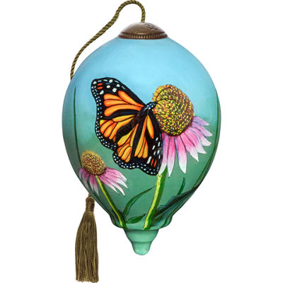 Ne'Qwa Art 7171163 Hand Painted Blown Glass Petite Princess Shaped Monarch Butterfly Ornament  3-inches