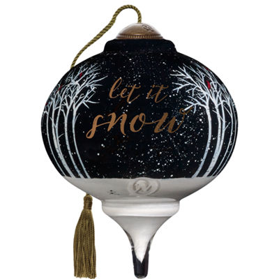 Ne'Qwa Art 7171184 Hand Painted Blown Glass PetiteMarquis Shaped Let It Snow Ornament  3-inches