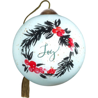 Ne'Qwa Art 7171185 Hand Painted Blown Glass PetiteRound Shaped May Your Season Be Filled With Joy Wreath Ornament  2.5-inches