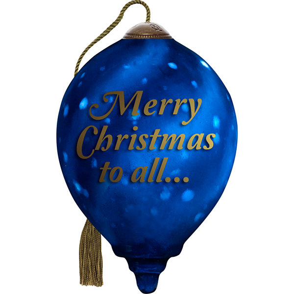 Ne'Qwa Art 7171177 Hand Painted Blown Glass Standard With Petite Ornament Gift Set of Five (5)  Santa  Merry Christmas to All  And to All a Good NightNight Blue Sky  5.5-inches