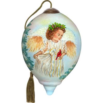 Ne'Qwa Art 7171127 Hand Painted Blown Glass PetitePrincess Shaped Landscapeful Jolly Angel Ornament3-inches