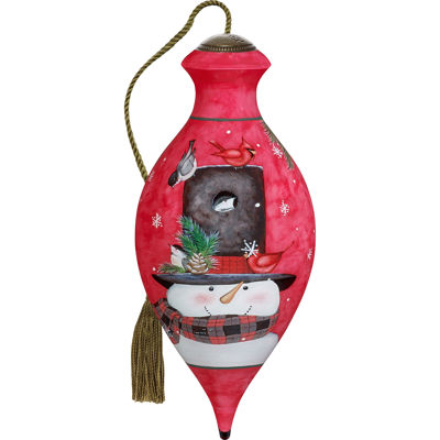 Ne'Qwa Art 7171153 Hand Painted Blown Glass Standard Brilliand Shaped Home Is Where You Hang Your Hat Smiling Snowman Ornament  6.5-inches