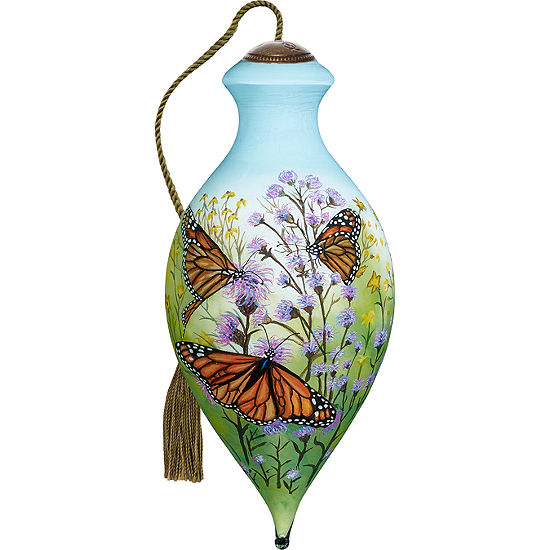 Ne'Qwa Art 7171164 Hand Painted Blown Glass Standard Brilliant Shaped Monarch Butterflies Ornament 6.5-inches