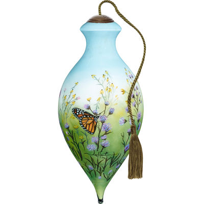 Ne'Qwa Art 7171164 Hand Painted Blown Glass Standard Brilliant Shaped Monarch Butterflies Ornament6.5-inches