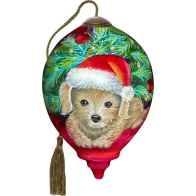 Ne'Qwa Art 7171129 Hand Painted Blown Glass PetitePrincess Christmas Puppy Ornament  3-inches