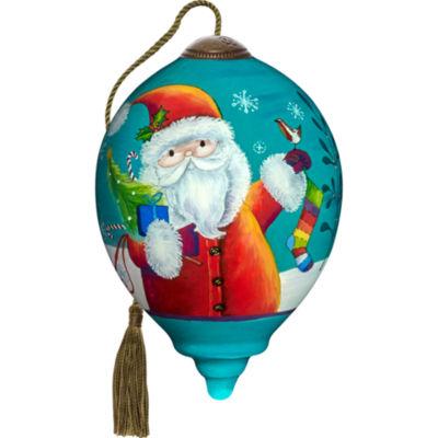 Ne'Qwa Art 7171130 Hand Painted Blown Glass PetitePrincess Shaped Merry And Bright Santa Ornament3-inches