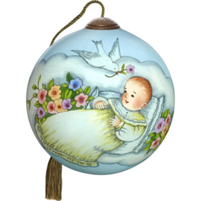 Ne'Qwa Art 7171140 Hand Painted Blown Glass PetiteRound Shaped Blessings For Baby Ornament  2.5-inches