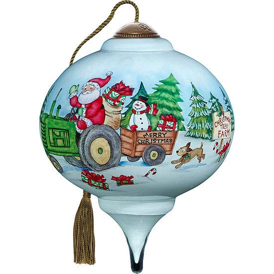 Ne'Qwa Art 7171145 Hand Painted Blown Glass PetiteMarquis Shaped Santa's Tree Farm Ornament  3-inches