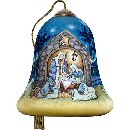 Ne'Qwa Art 7171146 Hand Painted Blown Glass Petite Bell Shaped Away In A Manger Scene Ornament  3-inches