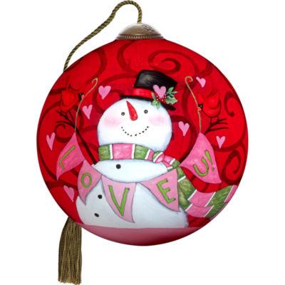 Ne'Qwa Art 7171148 Hand Painted Blown Glass PetiteRound Shaped Love U Smiling Snowman Ornament  2.5-inches
