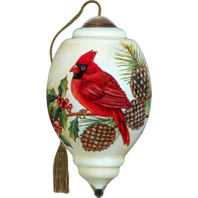 Ne'Qwa Art 7171109 Hand Painted Blown Glass Petite Trillion Shaped Christmas Cardinal Ornament 3-inches