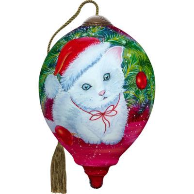 Ne'Qwa Art 7171128 Hand Painted Blown Glass PetitePrincess Shaped Christmas Kitten Ornament  3-inches