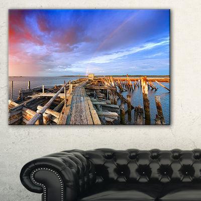 Designart Abandoned Wooden Pier And Blue Sky Canvas Art