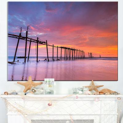 Designart Abandoned Wooden Pier At Sunset Canvas Art