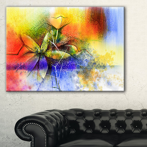 Designart Abstract Colorful Flower Fusion Canvas Art