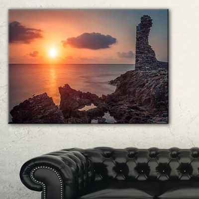 Designart African Ancient Ruins At Seashore Canvas Art
