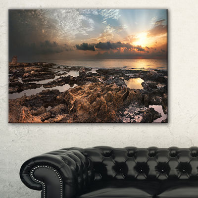 Designart African Rocky Coast Panorama Canvas Art