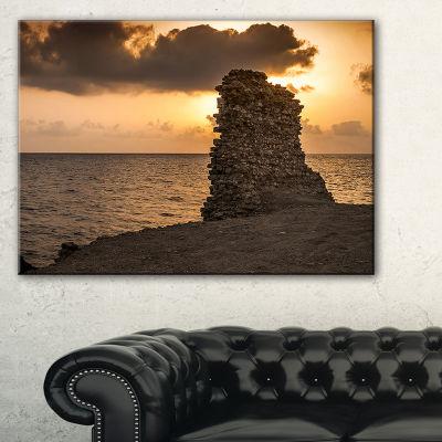 Designart African Ruins At Sunset Seashore Canvas Art