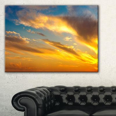 Designart Amazing Golden Sky At Sunset Canvas Art