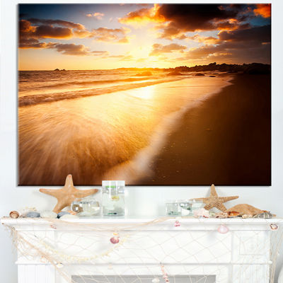 Designart Amazing Sunrise Over Australian Beach Canvas Art