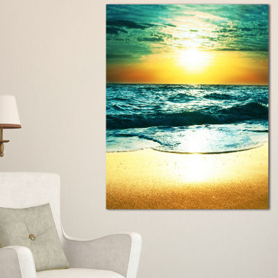 Designart Amazing Sunset Reflecting In Blue Sea Canvas Art