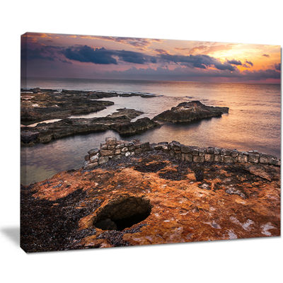 Designart Ancient Ruins On Beach Sunset Canvas Art