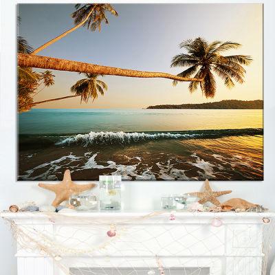 Designart Andaman Sea Large Coconut Palms Canvas Art