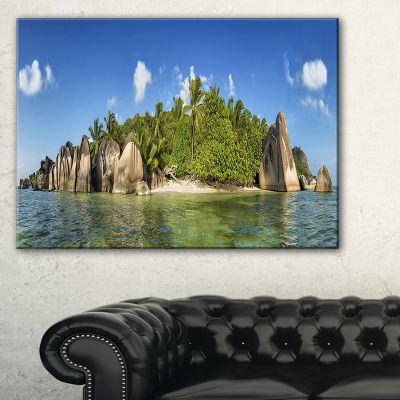 Designart Anse Lazio Beach Seychelles Panorama Canvas Art