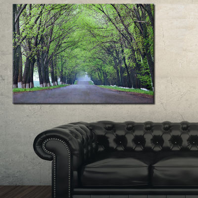 Designart Arched Trees Over Country Road Canvas Art