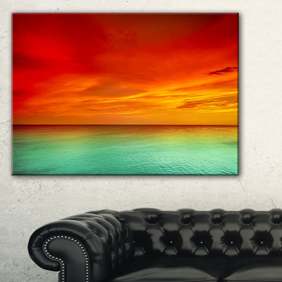 Designart Artist Blue Red Sunset Canvas Art