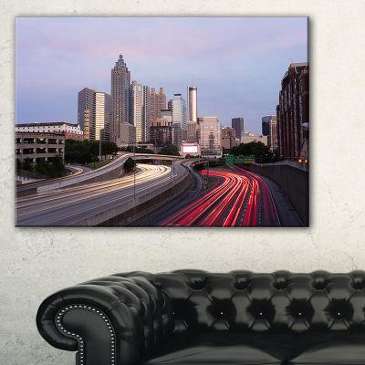 Designart Atlanta Georgia Rush Hour Traffic At Dusk Canvas Art