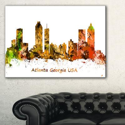 Designart Atlanta Georgia Skyline Orange Canvas Art