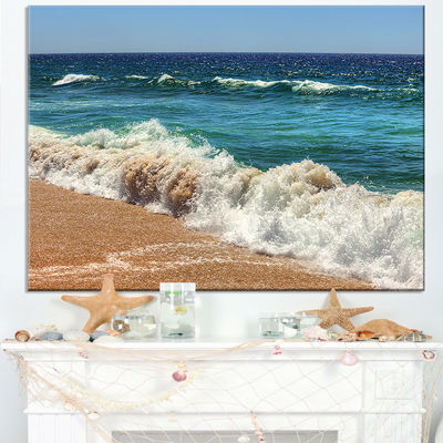 Designart Atlantic Beach With Foaming Waves Canvas Art