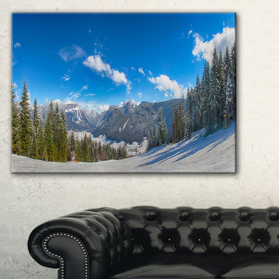 Designart Austrian Alps Seen From Ski Slope Canvas Art