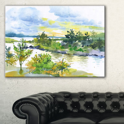 Designart Autumn Forest And Lake Watercolor Canvas Art