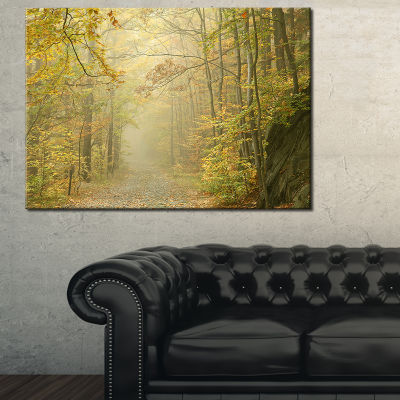 Designart Autumn Forest Path On Misty Morning Canvas Art