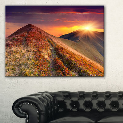 Designart Autumn Hills With Colorful Grass 3-pc. Canvas Art
