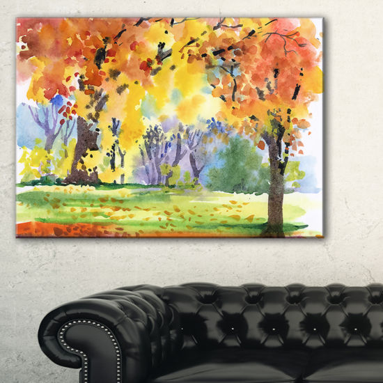 Designart Autumn Park Yellow Trees Watercolor Canvas Art
