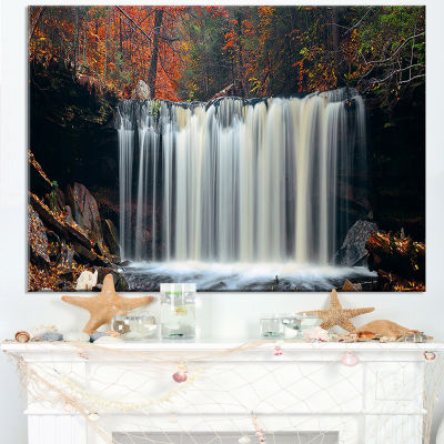Designart Autumn Waterfall With Colorful Foliage Canvas Art