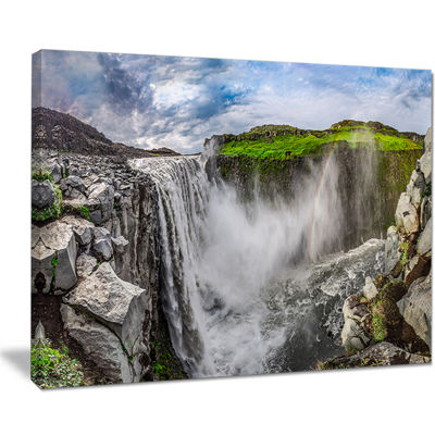 Designart Awesome Dettifoss Waterfall Canvas Art