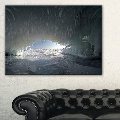 Designart Baikal Lake Ice Macro Universe Canvas Art
