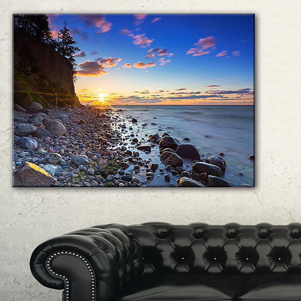 Designart Baltic Sea And Orlowo Cliff At Sunrise Canvas Art