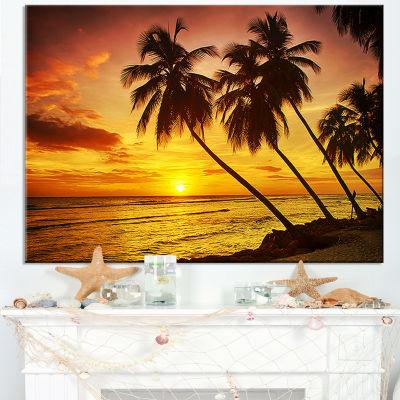 Designart Barbados Island Evening Seashore Canvas Art