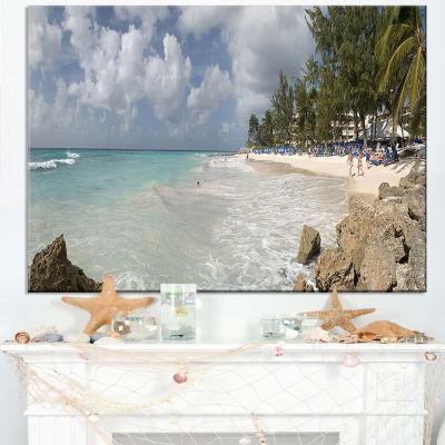 Designart Barbados Island White Seashore Canvas Art