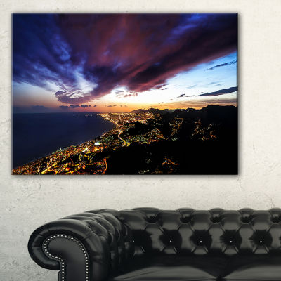 Designart Barcelona Skyline Panorama Canvas Art