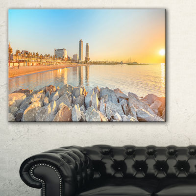 Designart Barceloneta Beach In Barcelona Canvas Art