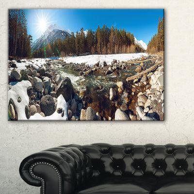 Designart Baskan Mountain River At Wintertime Canvas Art